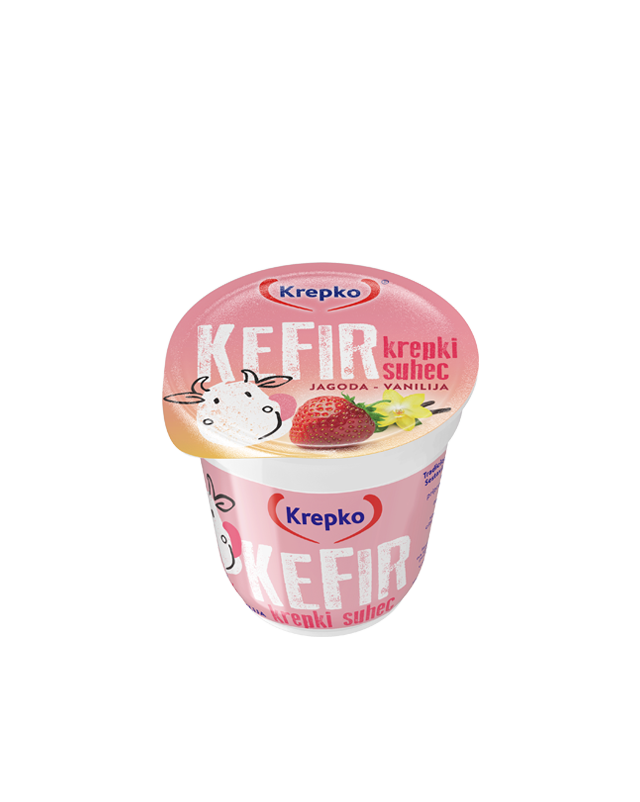Kefir Krepki suhec jagoda/vanilija 3,2% m.m. 150g