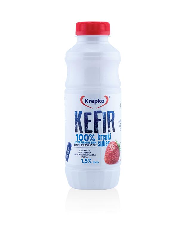Kefir Krepki suhec/jagoda 1,5% m.m. 500g
